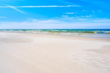 White sand Debki beach on sunny summer day, Baltic Sea, Poland