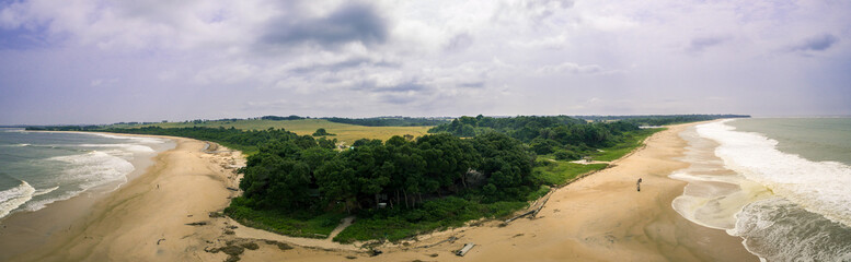 Aerial panoramic picture of La Noumbi beach, Western Africa, Congo.