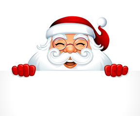 Vector illustration of cartoon Santa Claus character with white copy space.