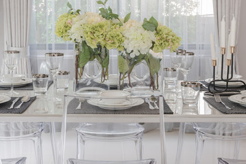 luxury dining room with translucent chair