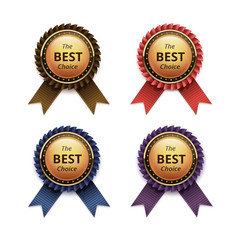 Vector Set of Top Quality Guarantee Golden labels with Colored Brown Red Blue Purple Violet Ribbons