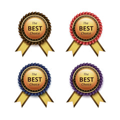Vector Set of Top Quality Guarantee Golden labels with Colored Brown Red Blue Purple Violet Ribbons on White Background
