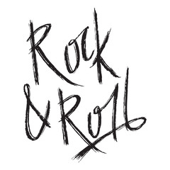 Vintage hand drawn lettering rock and roll. Retro vector illustration. Concept design for card, print, t-shirt, postcard