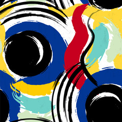 seamless background pattern, with circles, stripes, paint stroke