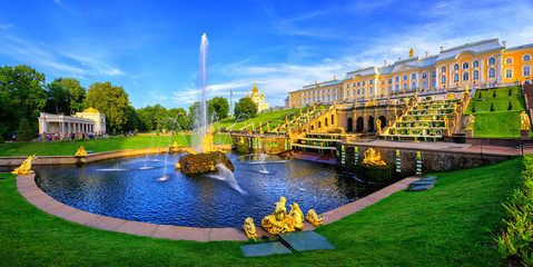Panoramic view of Peterhof Palace, St Petersburg, Russia