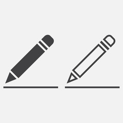 pencil line icon, outline and solid vector sign, linear and full pictogram isolated on white, logo illustration