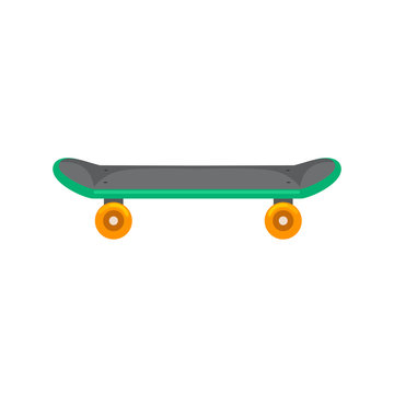 isolated skateboard with wheel for active lifestyle, extreme sport for youth activity, balance street transport vector illustration