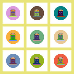 flat icons Halloween set of Spooky tree trunk stump concept on colorful circles
