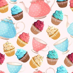 Seamless teacups and cupcakes