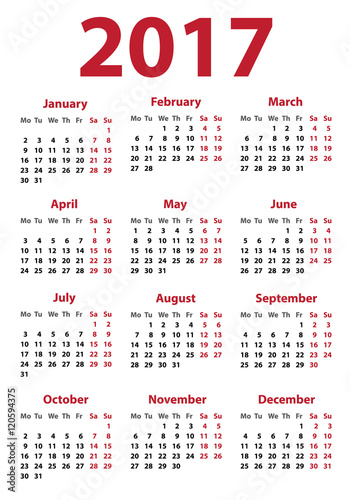 Calendar For 2017 Starts On Monday Calendar 2017 Organizer 2017