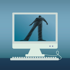 Internet dangers concept vector illustration with computer and person shadow.