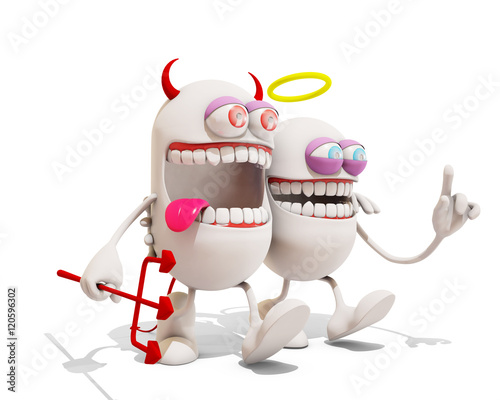 3 Cartoon Characters Always Together : Quot devil and angel cartoon character having fun together d