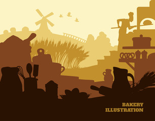 Bakery illustration background, colored silhouettes elements, flat