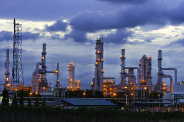 Refinery plant for Oil and Gas industrial at twilight - Petroche