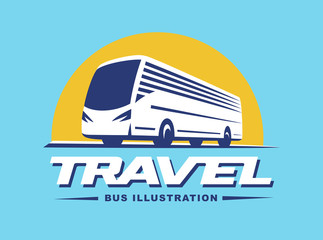 Travel bus illustration on blue background
