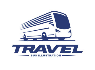 Travel bus illustration on light background