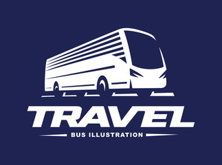 Travel bus illustration on dark background