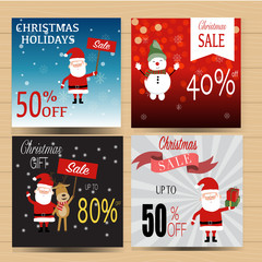 Christmas banner sale for winter holidays vector. illustration E