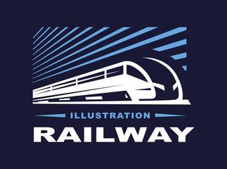 Train logo illustration on dark background, emblem