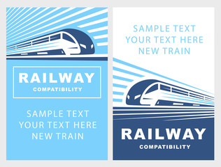 Train poster illustration on light background, emblem