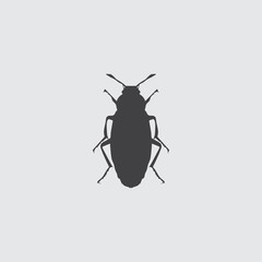 Beetle icon in a flat design in black color. Vector illustration eps10