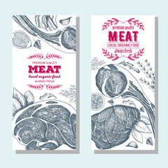 Meat banner set. Meat flyer collection. Linear graphic. Vintage vector illustration.