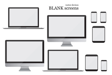 Set monitor, laptop, tablet and mobile phone. Blank screens. Vector illustration EPS10