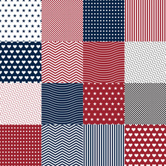 Repeating patterns for digital paper, scrapbooking, cards, invitations, gift wrap, backgrounds and borders. File includes: anchor and star prints, polka dots. Vector illustration EPS10