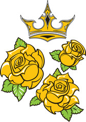 Old-school styled tattoo of three yellow roses with green leaves