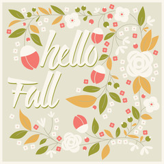 Autumn card design with floral frame and typographical message
