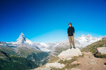 Matterhorn - Hiker in beautiful landscape of Zermatt, Switzerlan