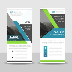 Blue green Abstract triangle Business Roll Up Banner flat design template ,Abstract Geometric banner template Vector illustration set, abstract presentation template