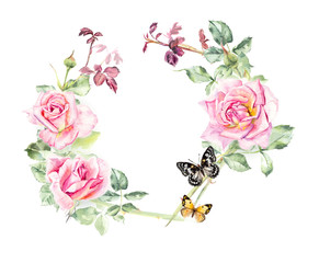 Circle frame from roses. Wedding drawings.  Greeting cards. Roses background, watercolor composition. Flower backdrop. Decoration with blooming roses, hand-drawing. Place for your text.