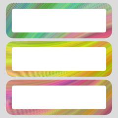 Colored digital art rounded shaped banner set