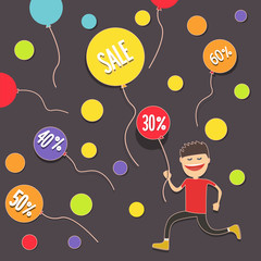 Boy is catching discounts. Balloons discount vouchers . Vector illustration