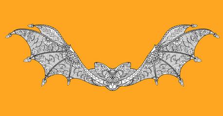 Bat zentangle vector in halloween.Bat zentangle by hand drawing.
