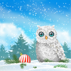 Holiday theme, white owl sitting in snow, with red christmas ball, illustration