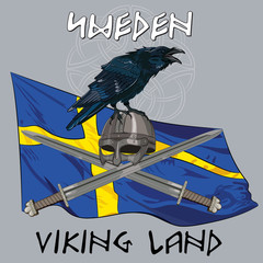 Black crow sitting on a Viking helmet, crossed swords on the background of the Sweden banner, vector illustration, eps-10