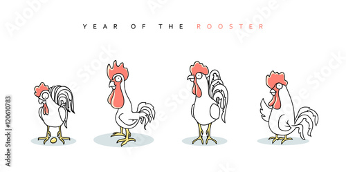 Rooster. Chinese New Year Symbol 2017. Funny rooster and hen in ...