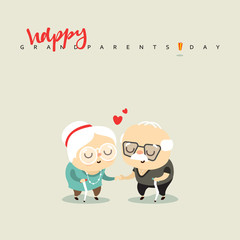 Elderly couple in love, for the character of the anniversary. Grandparents in love and happy. Cartoon doodle man and woman, people aged. National grandparents day