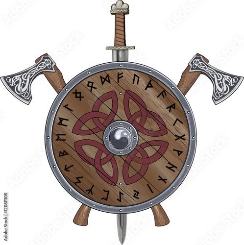 """Two Viking Axe, Sword End Shield Decorated Scandinavian"