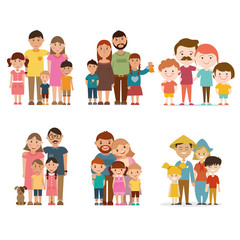 A set of happy families, vector illustration.