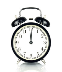 Alarm Clock isolated on white, in black and white, twelve o'clock.