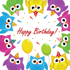 birthday card with owls - vector illustration, eps
