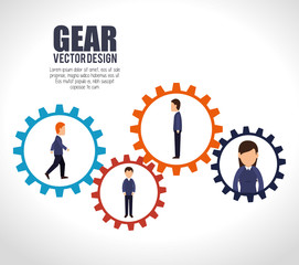 teamwork team persons gears design isolated vector illustration eps 10