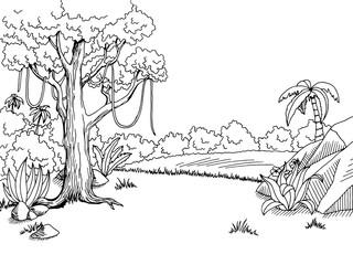 Jungle forest graphic art black white landscape sketch illustration vector
