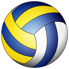 blue yellow white volleyball
