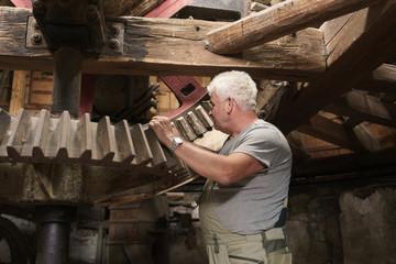 Senior miller checking large mechanic gearwheels in truss of windmill