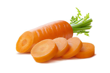 Carrot and pieces isolated on white background as package design element