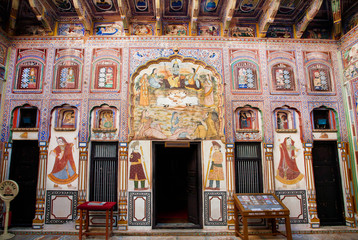 Frescos of old indian mansion in Rajasthan,  India